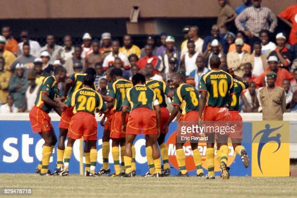 Team Cameroon celebrate his goal during the Final African Cup Nations match between Nigeria and Cameroon in Lagos National Stadium Lagos Nigeria on...