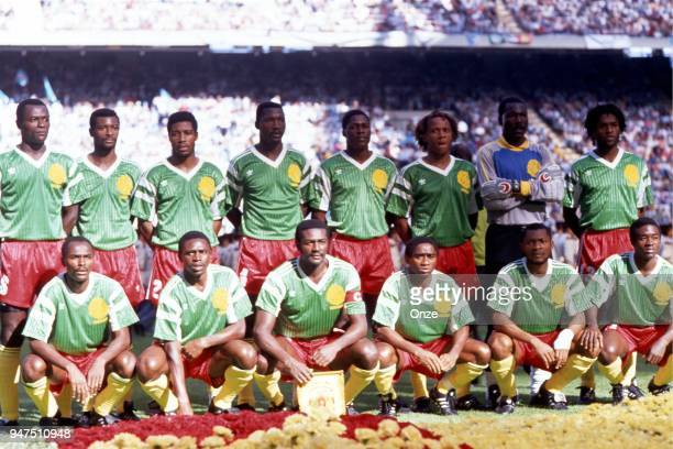 Team Cameroon during the opening match of the 1990 World Cup between Cameroon and Argentina at Stade Giuseppe Meazza Milano Italy on June 08th 1990
