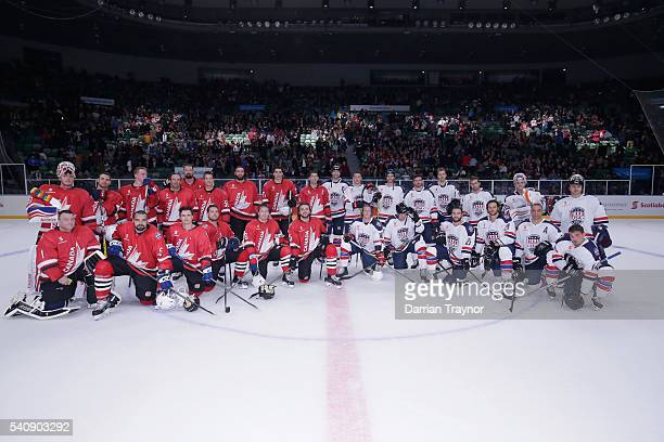 Team Canada and Team USA pose for a photo after the match between Team USA and Team Canada at Rod Laver Arena on June 17 2016 in Melbourne Australia