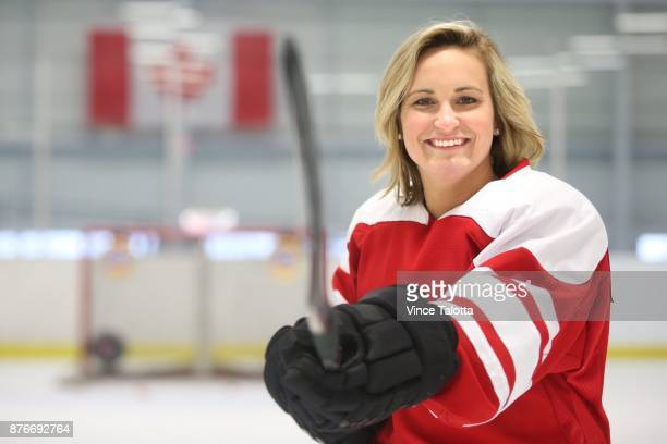 Team Canada captain MariePhilip Poulin poses for pictures while doing a promo for Tide detergent at Leaside Memorial Arena