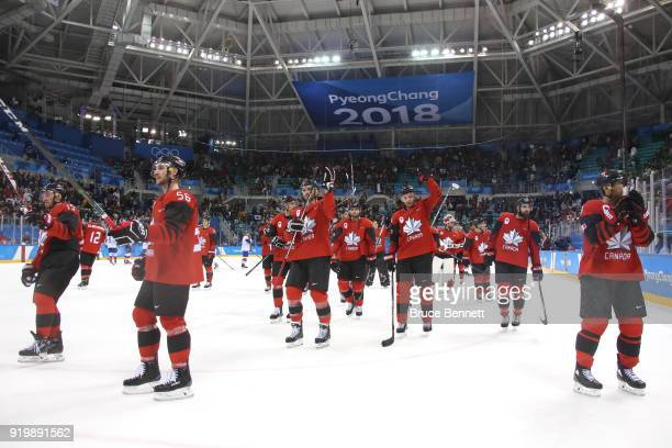 Team Canada celebrate after defeating Team Korea in the Men's Ice Hockey Preliminary Round Group A game on day nine of the PyeongChang 2018 Winter...
