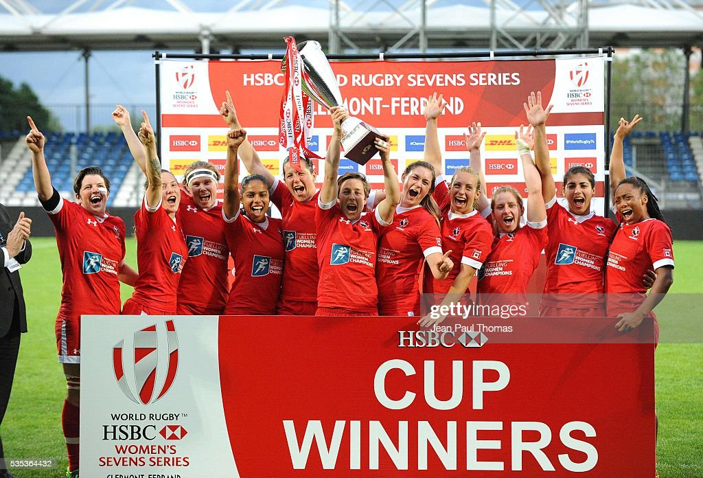 Team Canada celebrate after winning the HSBC Women's Sevens Series on May 29, 2016 in Clermont, France.