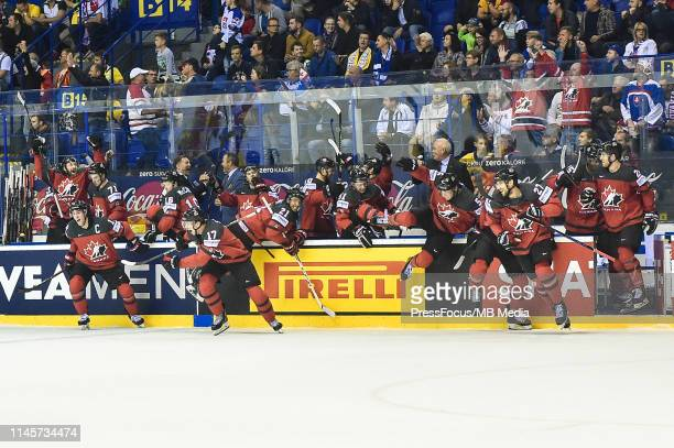 Team Canada celebrate goal scored by Mark Stone of Canada during the 2019 IIHF Ice Hockey World Championship Slovakia quarter final game between...