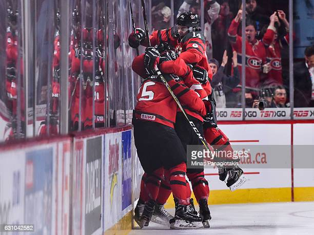 Team Canada celebrates a first period goal during the 2017 IIHF World Junior Championship gold medal game against Team United States at the Bell...