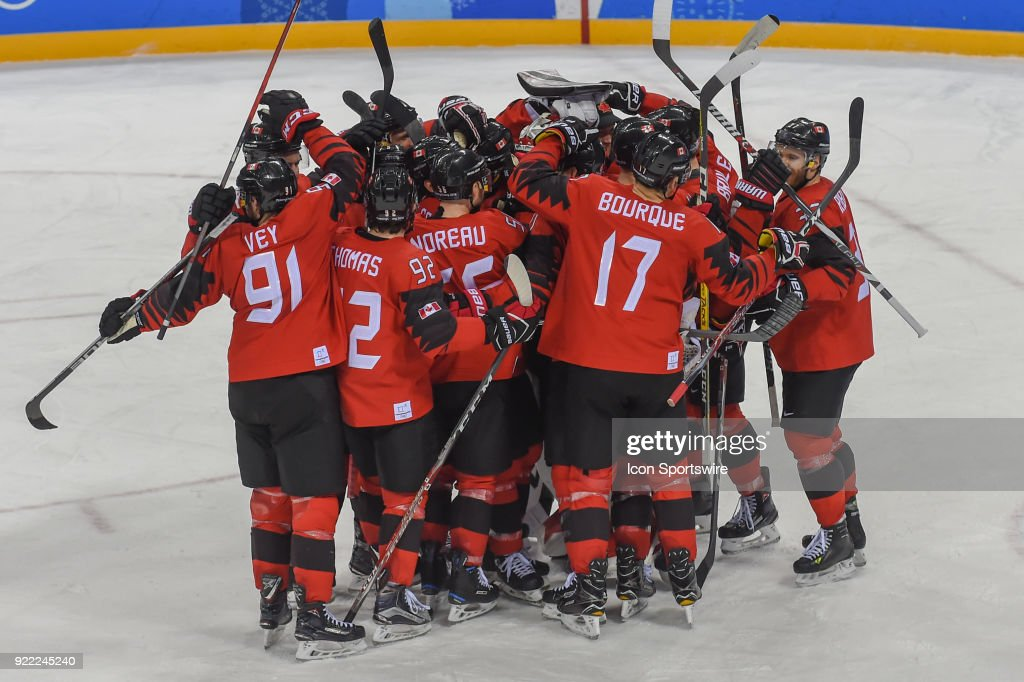 Team Canada celebrates a shutout victory following the men's hockey semi final game between Canada and Finland during the 2018 Winter Olympic Games at the Gangneung Hockey Center on February 21, 2018 in PyeongChang, South Korea. Canada advances to the gold medal game with 1-0 victory.