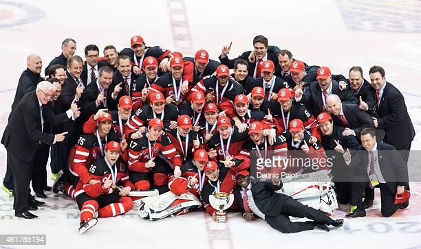 Team Canada celebrates after a 5-4 win against Russia during the Gold medal game of the 2015 IIHF World Junior Championship on January 05, 2015 at...