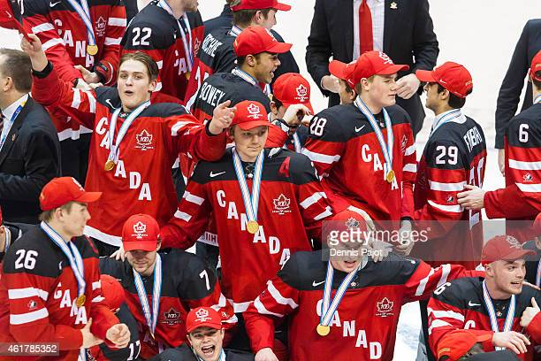 Team Canada celebrates after a 54 win against Russia during the Gold medal game of the 2015 IIHF World Junior Championship on January 05 2015 at the...