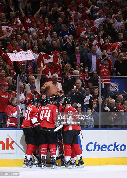 Team Canada celebrates after a first period goal on Team Russia at the semifinal game during the World Cup of Hockey 2016 tournament at the Air...