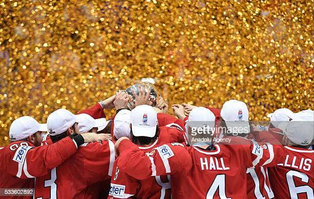 Team Canada celebrates after IIHF Ice Hockey World Championship gold medal match between Finland and Canada at VTB Ice palace in Moscow Russia on May...