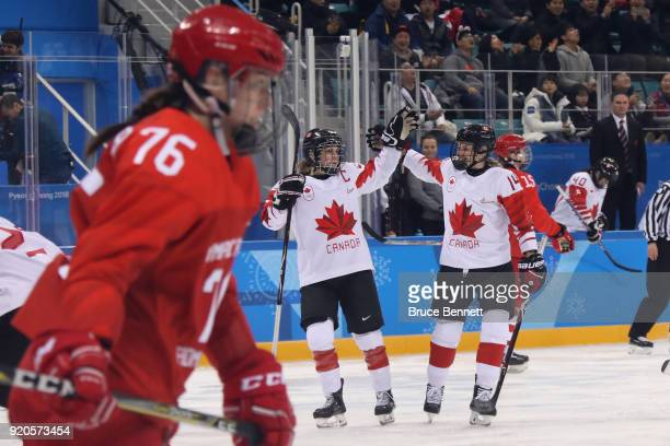 Team Canada celebrates after scoring a goal against Olympic Athletes from Russia during the Ice Hockey Women Playoffs Semifinals on day 10 of the...