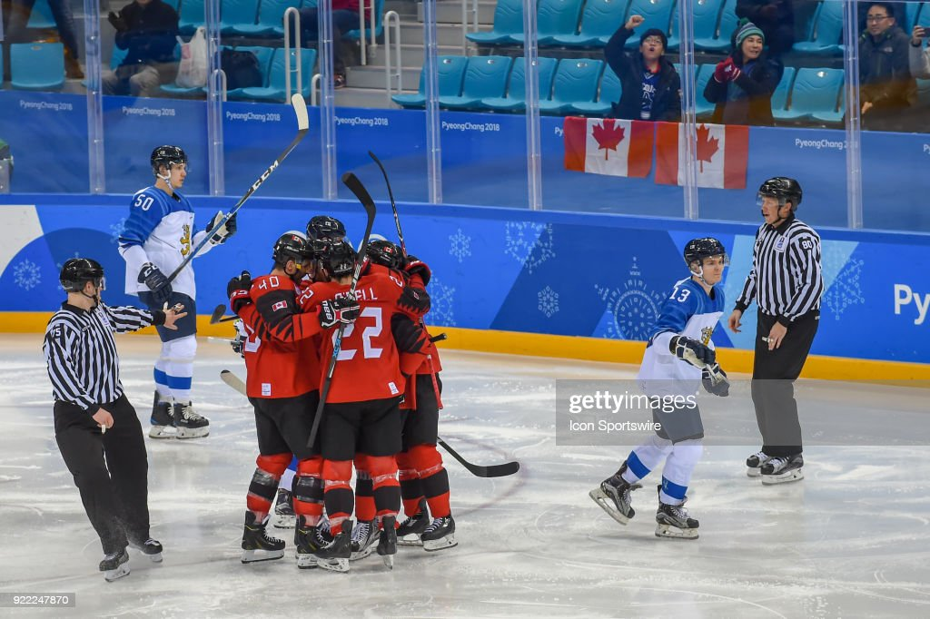 Team Canada celebrates an early third period goal by Canada men's hockey defender Maxim Noreau (56), assisted by Canada men's hockey forward Eric O'Dell (22) which ended up being the only goal of the game during the men's hockey semi final game between Canada and Finland during the 2018 Winter Olympic Games at the Gangneung Hockey Center on February 21, 2018 in PyeongChang, South Korea. Canada advances to the gold medal game with 1-0 victory.