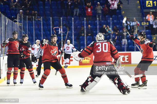 Team Canada celebrates goal scored by Mark Stone of Canada during the 2019 IIHF Ice Hockey World Championship Slovakia quarter final game between...
