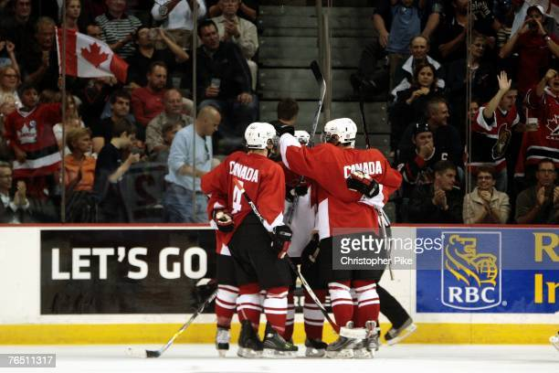 Team Canada celebrates their seventh goal against Team Russia in the third period of the Hockey Super Series between Canada and Russia on September 4...