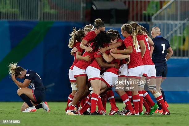 Team Canada celebrates their victory in the Women's Bronze Medal Rugby Sevens match between Canada and Great Britain on Day 3 of the Rio 2016 Olympic...