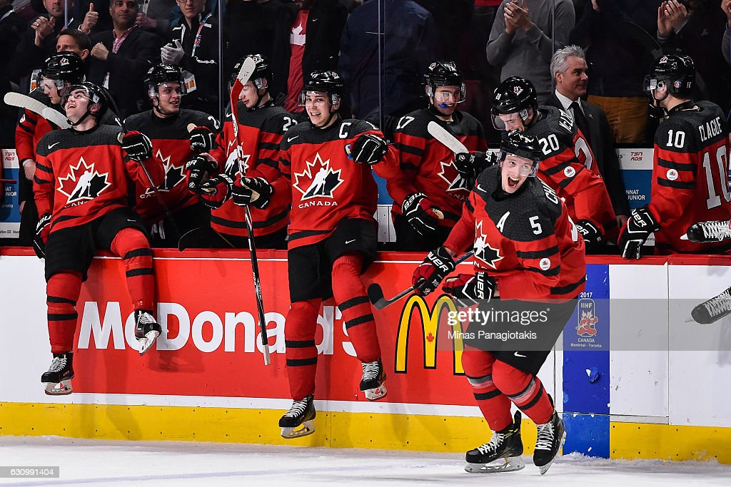Team Canada celebrates their victory over Team Sweden and proceed to the gold medal round during the 2017 IIHF World Junior Championship semifinal game at the Bell Centre on January 4, 2017 in Montreal, Quebec, Canada. Team Canada defeated Team Sweden 5-2.