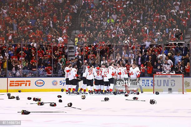 Team Canada celebrates their World Cup Championship over Team Europe during Game Two of the World Cup of Hockey final series at the Air Canada Centre...