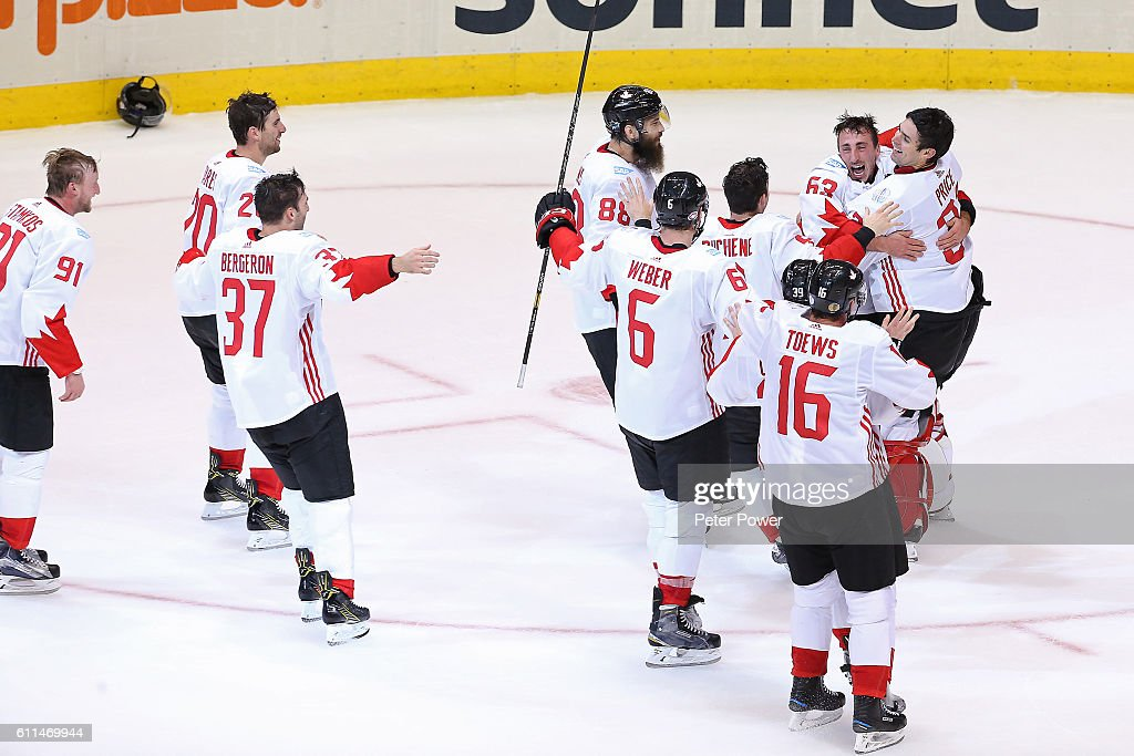 Team Canada celebrates their World Cup Championship over Team Europe during Game Two of the World Cup of Hockey final series at the Air Canada Centre on September 29, 2016 in Toronto, Canada. Team Canada defeated Team Europe 2-1.