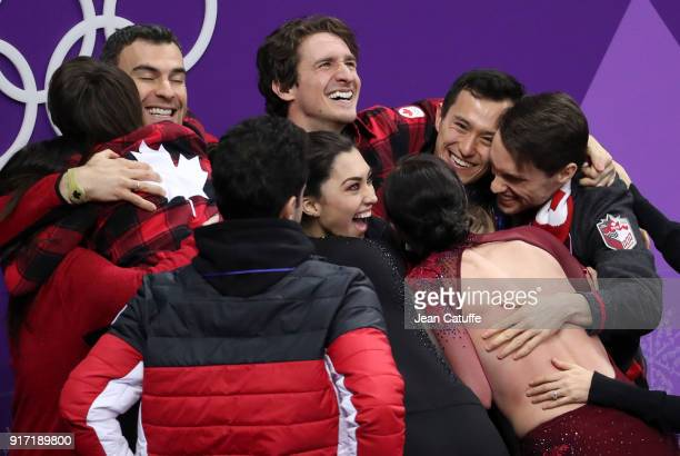 Team Canada celebrates winning the gold medal in the Figure Skating Team Event on day three of the PyeongChang 2018 Winter Olympic Games at Gangneung...