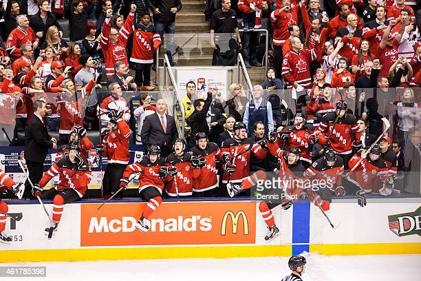 Team Canada clears the bench after a 54 win against Russia during the Gold medal game of the 2015 IIHF World Junior Championship on January 05 2015...