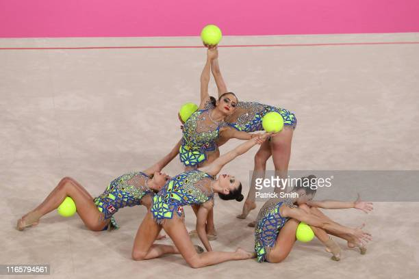Team Canada competes during rhythmic gymnastics Individual All Around and Qualifications Team Ball on Day 7 of Lima 2019 Pan American Games at Villa...