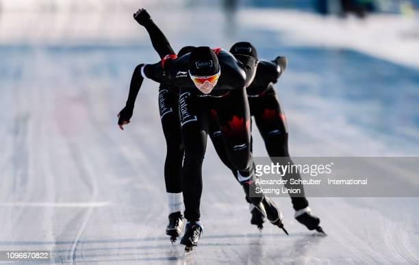 Team Canada competes in the Ladies Team Pursuit sprint race during the ISU Junior World Cup Speed Skating Final day 1 on February 9 2019 in Trento...