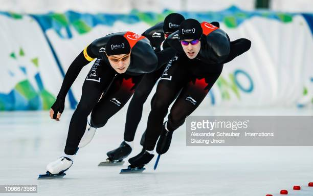 Team Canada competes in the Mens Team Pursuit sprint race during the ISU Junior World Cup Speed Skating Final day 1 on February 9 2019 in Trento Italy