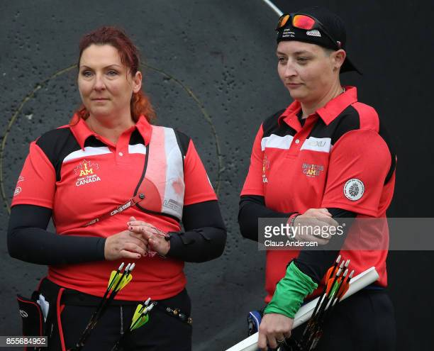 Team Canada competitors Elizabeth Newman and Melissa Smith win gold and silver in the individual Novice Recurve on Day Seven at Archery during the...