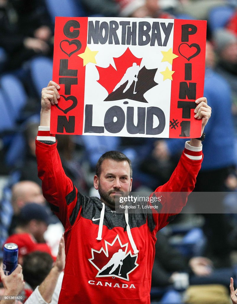 A team Canada fan during the third period of play in the IIHF World Junior Championships Semifinal game against the Czech Republic at KeyBank Center on January 4, 2018 in Buffalo, New York.