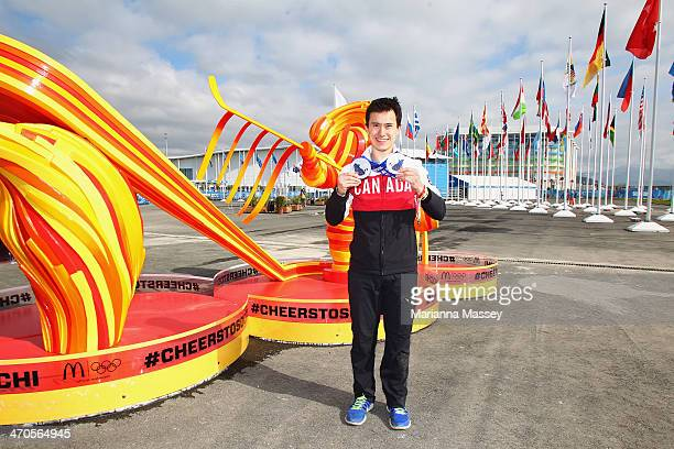 Team Canada figure skater Patrick Chan visits the McDonald's Cheers to Sochi Kiosk in the Athlete Village to read good luck messages sent from fans...