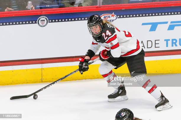 Team Canada forward Natalie Spooner skates with the puck during the Canada Women's National Hockey and Team USA Women's Hockey Rivalry Series game on...