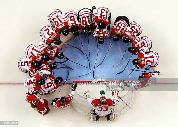 Team Canada huddles around the net before the game against Sweden during the Semifinals of the Hockey Canada Cup on September 5 2009 in Vancouver...