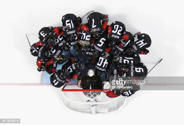 Team Canada huddles prior to facing Team Finland in the Women's Ice Hockey Preliminary Round Group A game on day four of the PyeongChang 2018 Winter...