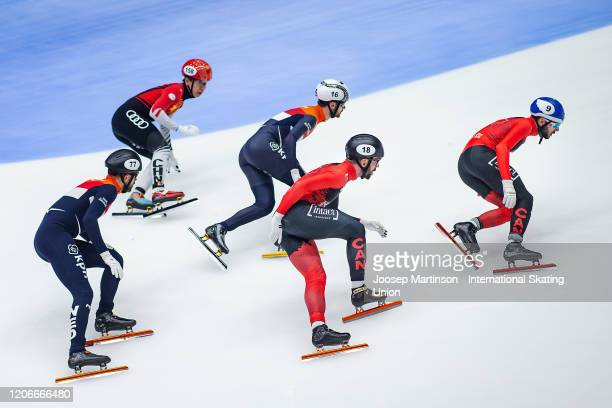 Team Canada lead ahead of team Netherlands and team China in the Men's Relay Final during day 2 of the ISU World Cup Short Track at Sportboulevard on...