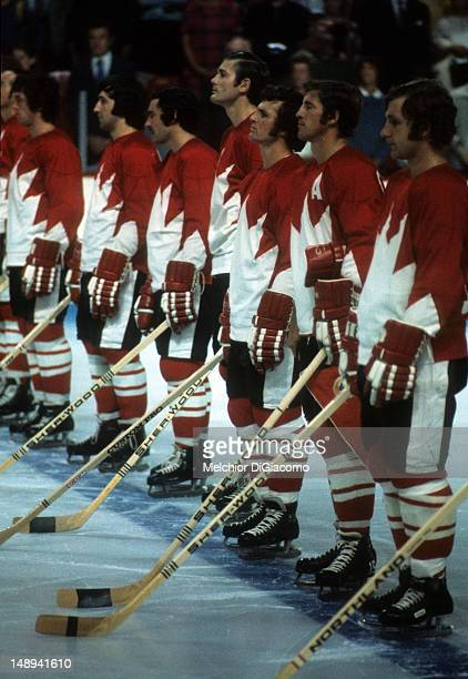 Team Canada lines up during introductions before Game 1 of the 1972 Summit Series against the Soviet Union on September 2 1972 at the Montreal Forum...