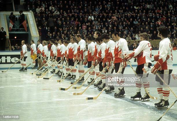 Team Canada lines up during player introductions before Game 5 of the 1972 Summit Series against the Soviet Union on September 22 1972 at the...