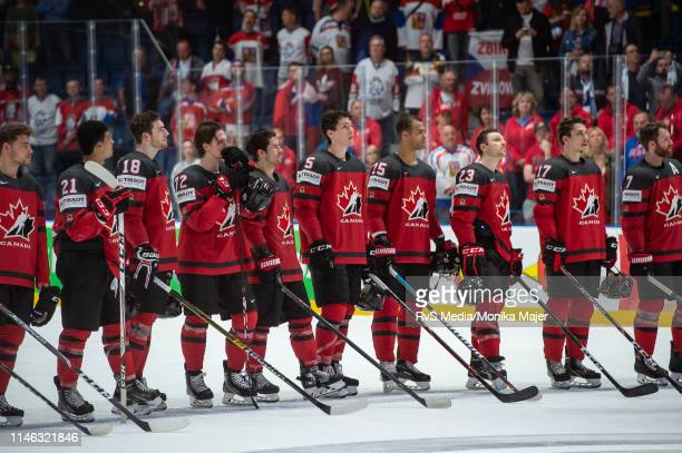 Team Canada lines up for national anthem during the 2019 IIHF Ice Hockey World Championship Slovakia semi final game between Canada and Czech...