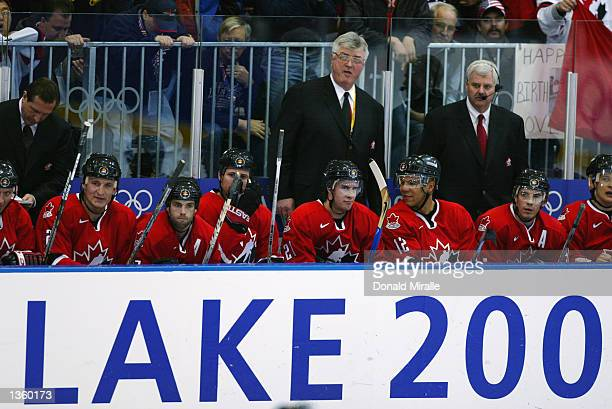 Team Canada looks on from the bench in their game against Germany during the Salt Lake City Winter Olympic Games on February 17 2002 at the Peaks Ice...