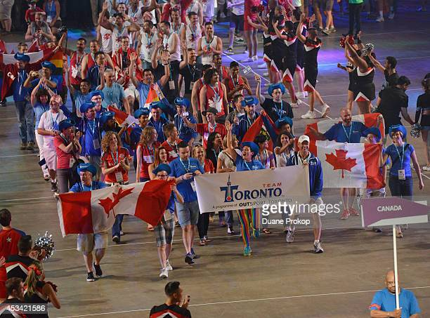Team Canada march during the opening ceremony of the Gay Games 2014>> at Quicken Loans Arena on August 9 2014 in Cleveland Ohio
