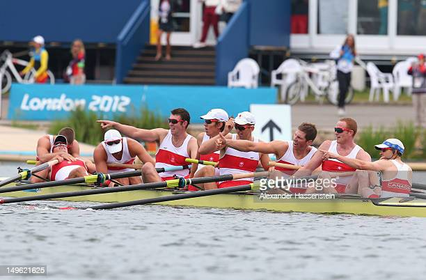 Team Canada member celebrates winning silver in the Men's Eight Final on Day 5 of the London 2012 Olympic Games at Eton Dorney on August 1 2012 in...
