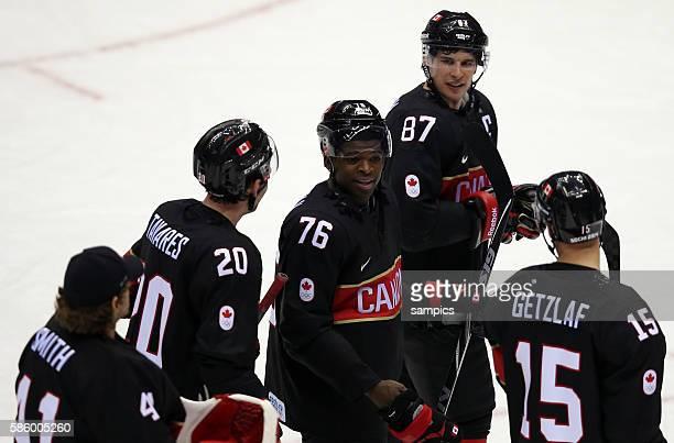 Team Canada Mike Smith , John Tavares , P.K. Subban , Sidney Crosby , Ryan Getzlaf Ice Hockey men Premilary Round Group B , Game 9 Bolshoy Ice Dome...