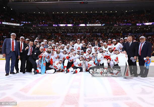 Team Canada poses for a photo after winning the World Cup of Hockey over Team Europe during Game Two of the World Cup of Hockey final series at the...