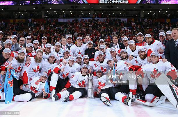 Team Canada poses for a team photo following their 21 victory against Europe in Game Two of the World Cup of Hockey final series at the Air Canada...