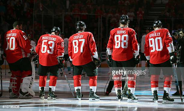 Team Canada prepares for the game against Team Europe during the singing of the anthem during Game One of the World Cup of Hockey 2016 final series...