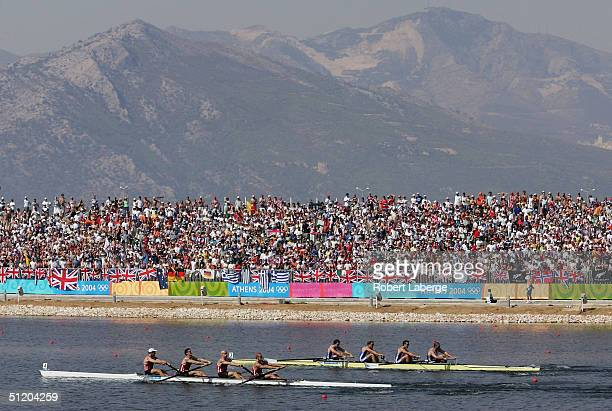 Team Canada races Team Great Britain to the finish in the men's four final on August 21 2004 during the Athens 2004 Summer Olympic Games at the...