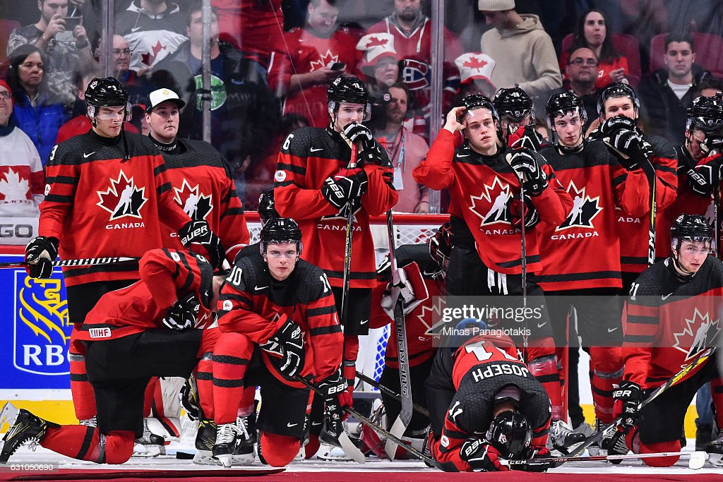 Team Canada react after losing to Team United States during the 2017 IIHF World Junior Championship gold medal game at the Bell Centre on January 5, 2017 in Montreal, Quebec, Canada. Team United States defeats Team Canada 5-4 in a shootout and wins the gold medal round.