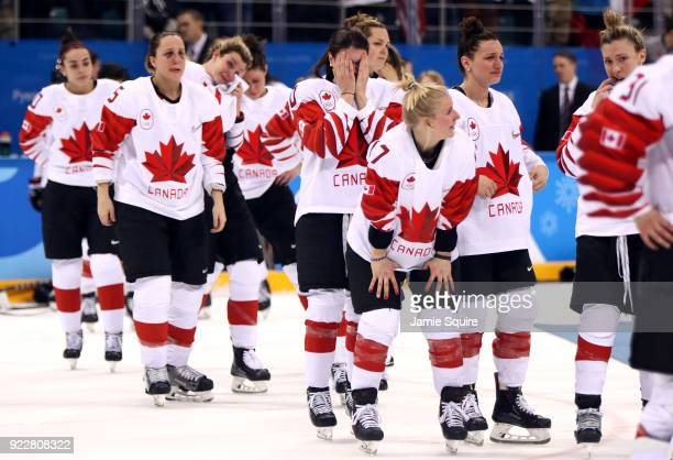 Team Canada reacts after losing in a shootout to United States during the Women's Gold Medal Game on day thirteen of the PyeongChang 2018 Winter...