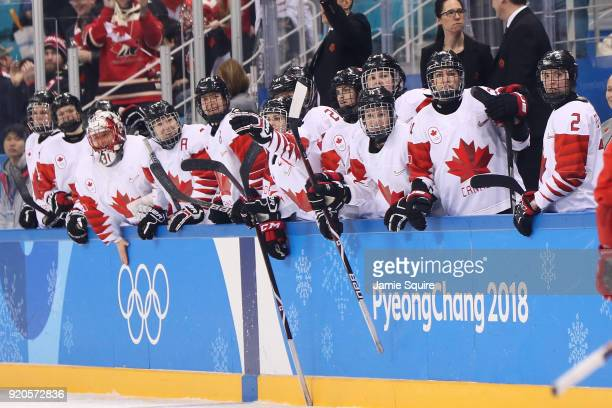 Team Canada reacts after scoring a goal against Olympic Athletes from Russia during the Ice Hockey Women Playoffs Semifinals on day 10 of the...