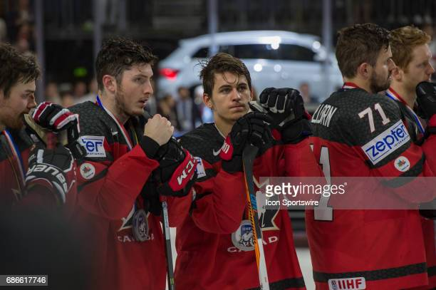 Team Canada reacts after the Ice Hockey World Championship Gold medal game between Canada and Sweden at Lanxess Arena in Cologne Germany on May 21...