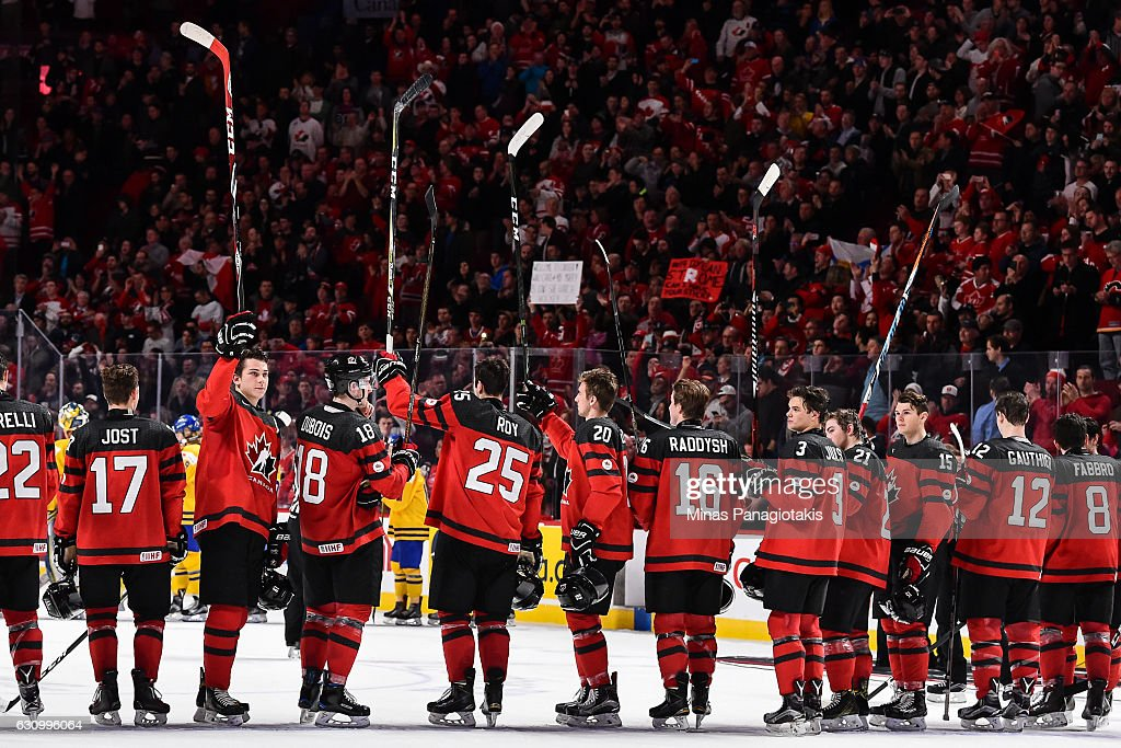 Team Canada salutes the fans after defeating Team Sweden during the 2017 IIHF World Junior Championship semifinal game at the Bell Centre on January 4, 2017 in Montreal, Quebec, Canada. Team Canada defeated Team Sweden 5-2 and move on to the gold medal round.