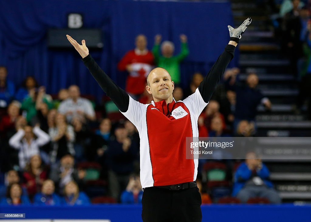 Team Canada skip Pat Simmons celebrates after defeating Northern Ontario in the gold medal game in curling during the Tim Horton's Brier at the Scotiabank Saddledome on March 8, 2015 in Calgary, Alberta, Canada.
